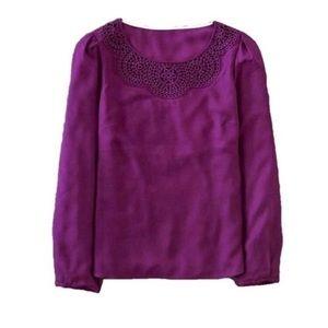 Boden silk crochet purple long sleeve blouse
